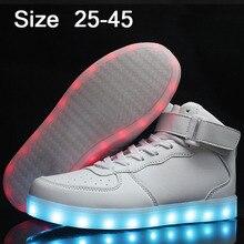 Eur25-45 USB Lumineux Sneakers Paniers Femme Led Shoes avec S'allume Garçons Filles Lumineux Sneakers Chaussure Enfant LED Pantoufles