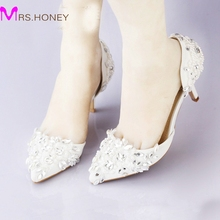 Cheap Pointed Toe Wedding Shoe Comfortable Middle Heel Bridal Wedding Party Shoes Handmade Crystal Pregnant Shoes White Satin