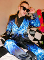 Plus Size M-4XL Blue Ice Water Printed Suits Male Singer GD outfit Wear Men Stage Blazer Trousers Bar Party Costume Jacket Pants