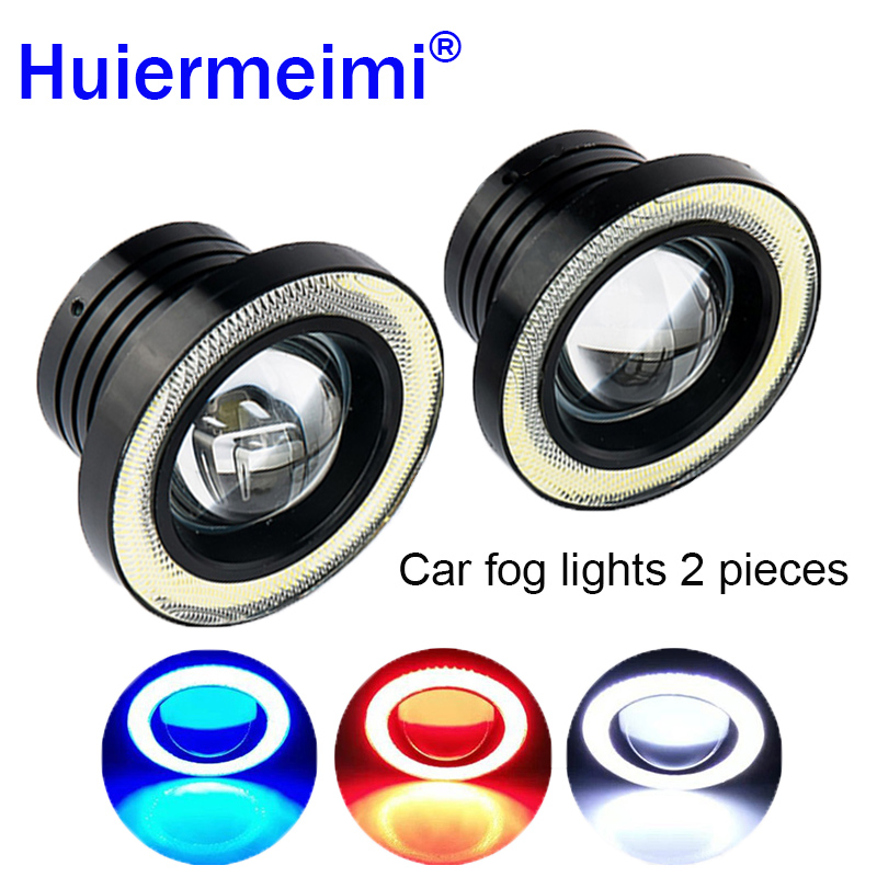 Huiermeimi 2pcs Projector Car LED Fog Light With Lens Halo Angel Eyes Rings COB 30W White Blue Red 12V SUV ATV Off Road Fog Lamp 80 mm 12v cob car led angel eyes halo rings with lampshade 63smd halo anneau colorful led headlights white yellow red blue light