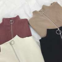 Zipper Turtleneck Solid Women Sweater Skinny Elastic Knitted Full Sleeve Pullover Feminino Soft Femme Spring Jumper High Quality 3