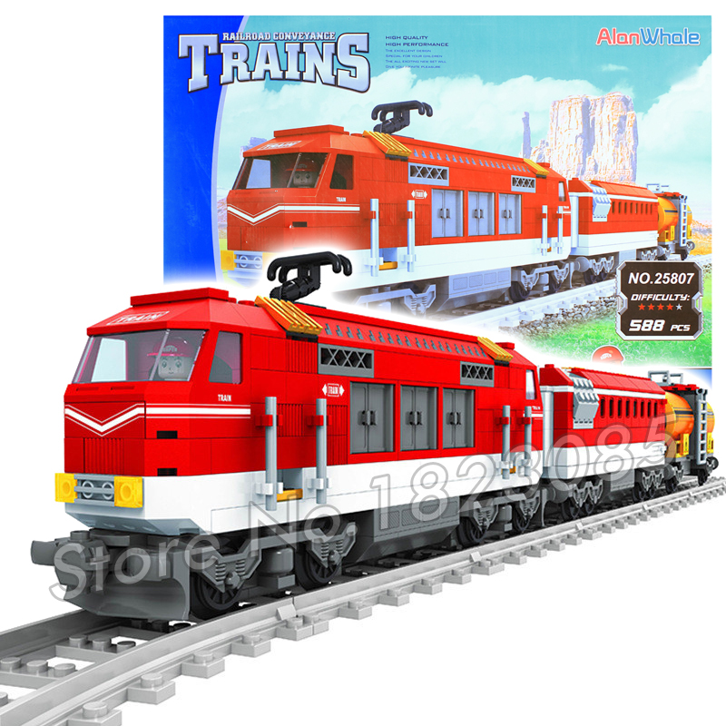 588pcs alanwhale new cargo train red locomotive model building blocks