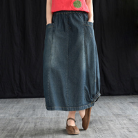 2019 Best Seller Vintage Denim Skirts Woman Fashion Loose Elastic Waist Casual Skirts Plus Size Blue Womens Clothing Skirts