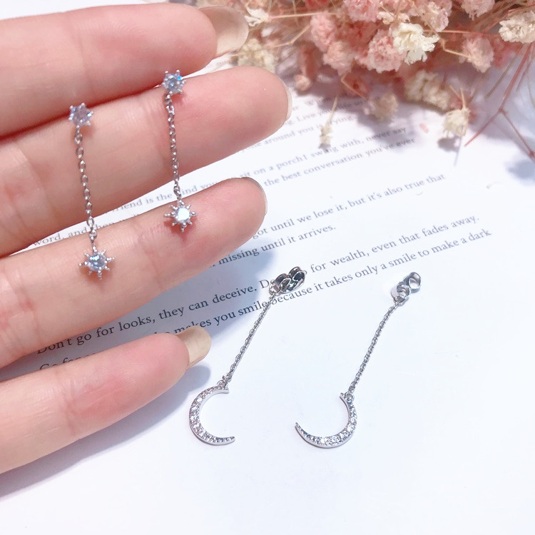 Korean Delicate Zirconia Moon Earrings For Women Girls Long Design Simple Fashion Jewelry 2019 Party Wedding Bridesmaid Gifts in Drop Earrings from Jewelry Accessories
