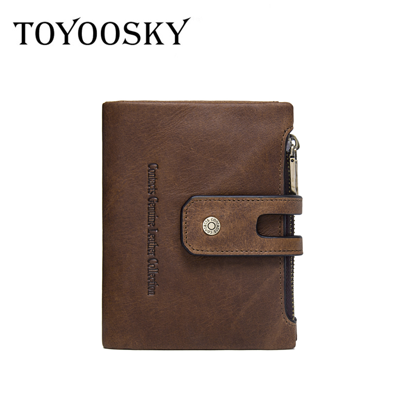 TOYOOSKY 2018 Genuine Leather Men Wallets Short Coin Purse Small Vintage Crazy Horse Leather Card Holder Pocket Purse Men Wallet crazy horse leather men wallets 2017 new arrival man brand design purse card vintage wallet holder short fold genuine small bag