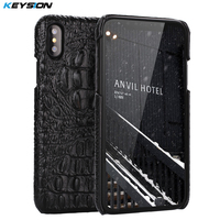 KEYSION Phone Case For IPhone X Luxury Genuine Leather Crocodile Pattern Back Cover For IPhone 10