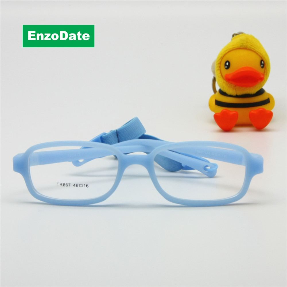 Children Glasses Frame with Strap Size 46/16 One-piece No Screw 4-6Y, Flexible Optical Boys Girls Glasses