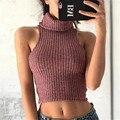 2016 Nueva Manera de La alta calidad Atractiva Del Verano Ahueca Hacia Fuera Sin Mangas de Cuello Alto de punto knitwearcropped Tank top T shirts Camiseta Tops