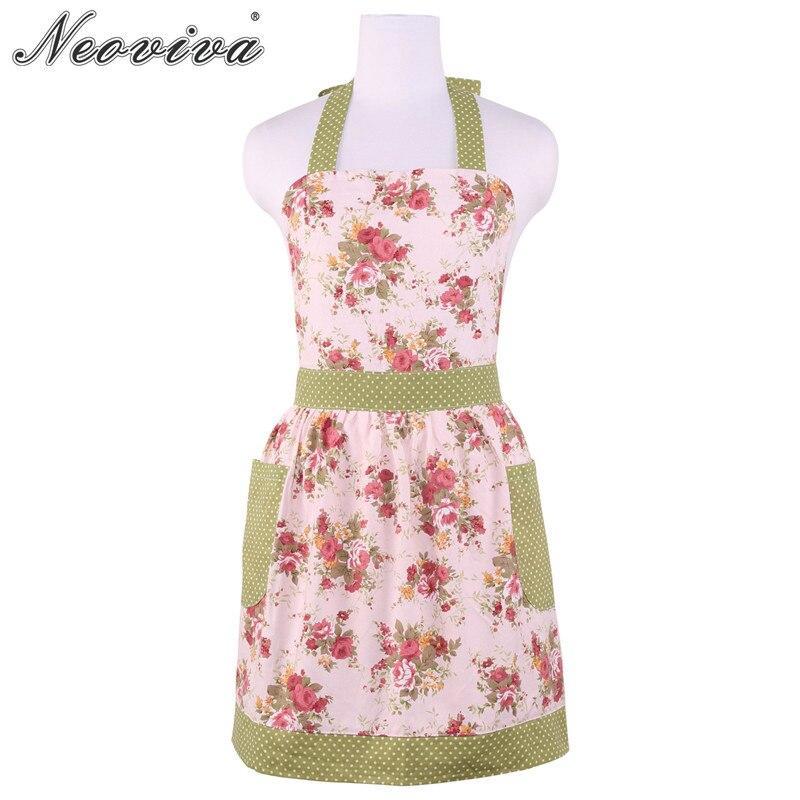 Neoviva Cotton Canvas Kitchen Apron for Women with Pocket, Style Diana Floral Quartz Pink Accessories Aprons Avental de Cozinha