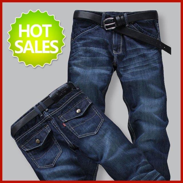 Wholesale New style men's fashion designer skinny denim jeans pants trouse indigo blue W28 W29 W30 W31 W32 W33 W34 W36 W38 MJ007