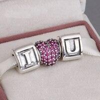 Serve Encantos Europeus Pulseira e Colar de 925 Conjuntos de Prata Esterlina Charme Cintilante Eu TE AMO Beads Mulheres Jóias DIY