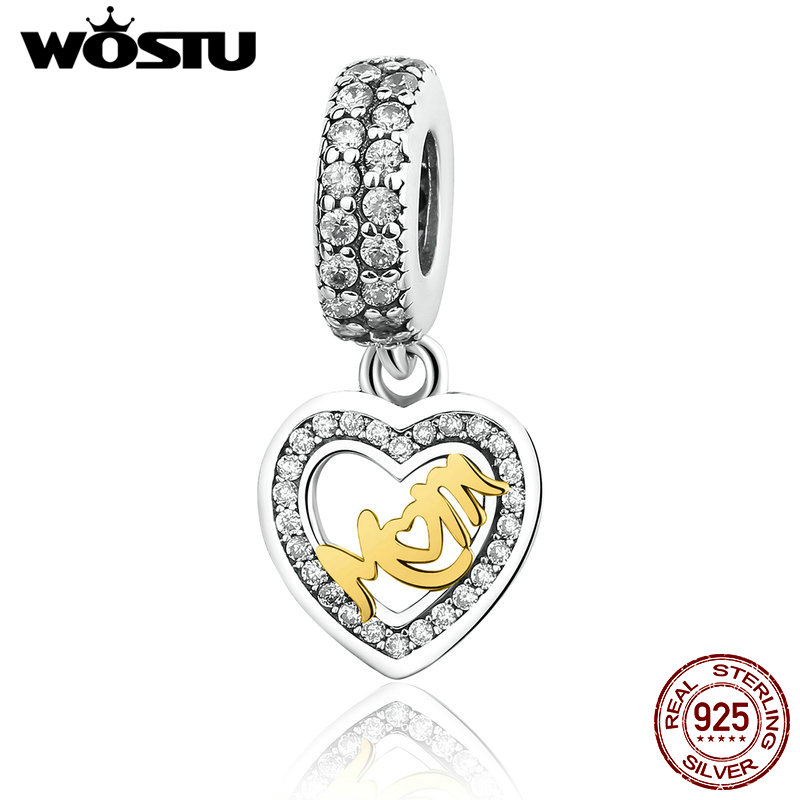 100 925 Sterling Silver MUM Dangle Heart Charm Beads Fit Original Pandora Bracelet Pendant Authentic Jewelry