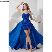 Sparkly Royal Blue Sexy Alto Basso Mini Vestito Da Cocktail Paillettes Satin Abito Formale Chic 2 Pezzo di Promenade Elegante robe soiree