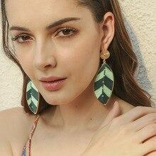 women Bohemian earrings fashion ethnic style alloy hand-woven Drop Earrings leaves shape Pendant Jewelry Gift