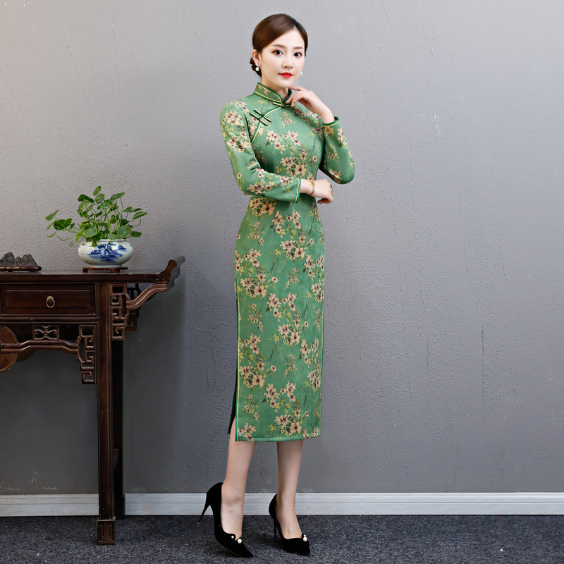 De Robes kaki Printemps Fleurs Mandarin 2019 Mince S Vintage Vert Chinois Robe Qipao Mode Femmes Partie Cheongsam xxl Col oxrCdeB