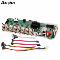 AZISHN 1080N 16Channel Hi3521A DVR Main Board H.264 Network Video Recorder Hybrid support AHD/CVI/TVI for Security System Camera