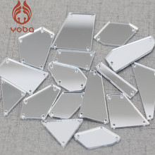 50pcs New Shapes Clear Mirror Sew On Rhinestones With Holes Flatback Acrylic Irregular Sew-on Crystal For Dress Decoration B0963(China)