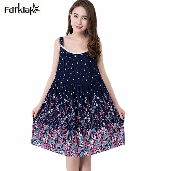 New casual women night dress vintage print spaghetti strap nightdress sexy loose nightgowns female sleepwear nightshirt