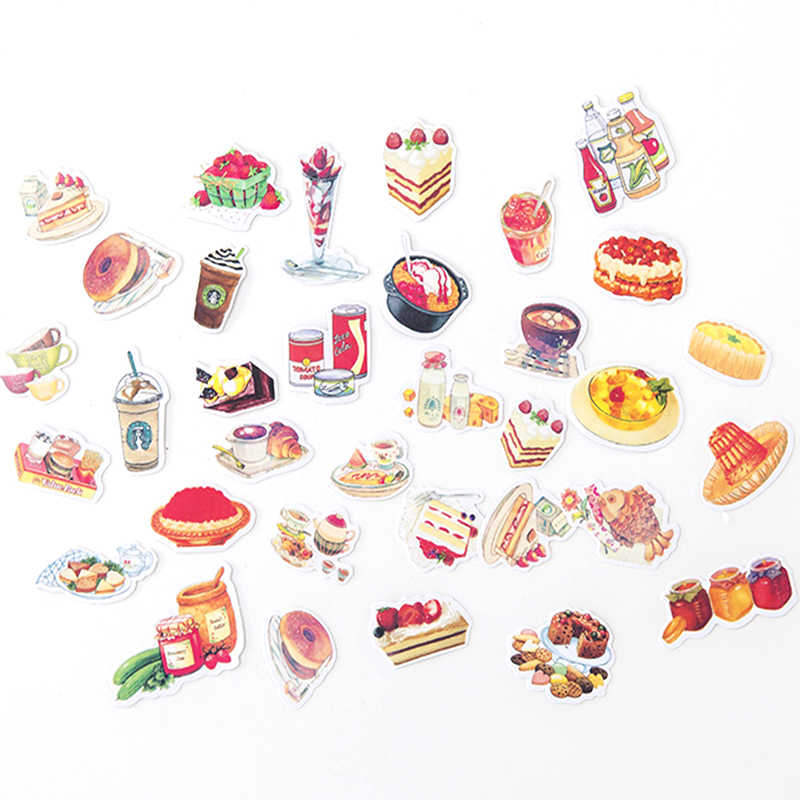 Cute Food Paper Sticker Cartoon Cake Cat Decoration DIY Diary Scrapbooking Label Stickers Stationery gift school supplies