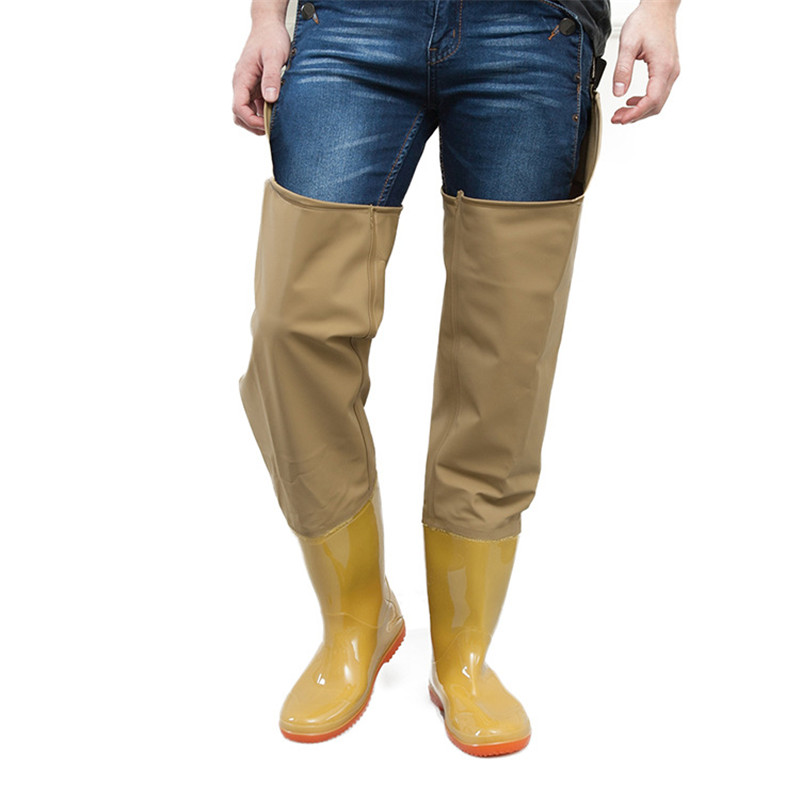 High-Jump Over Knee Waterproof Fishing Waders Pants Dichotomanthes Shoes End Rainy Day Boots Adjust Height Strap Fish Overalls