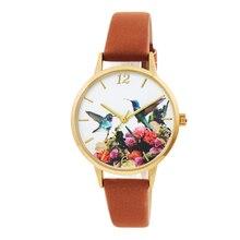 Hummingbird pattern girls watch soft strap dress watch for women elegance design 3D dial printing watch bird watch women
