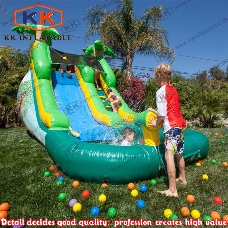 Kids backyard playing game inflatable water slide with ball pond ...