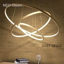 NEO Блеск Современные подвесные светильники для гостиной столовой 3/2/1 Окружности Кольца акриловые алюминиевый корпус LED Подвесные Лампы светильники