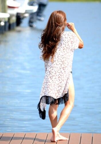 2019 חדש קיץ נשים פרחוני מודפס שיפון ביקיני כיסוי עד ציצית קרדיגן בגדי ים חוף כיסוי בגד ים החוף שמלה