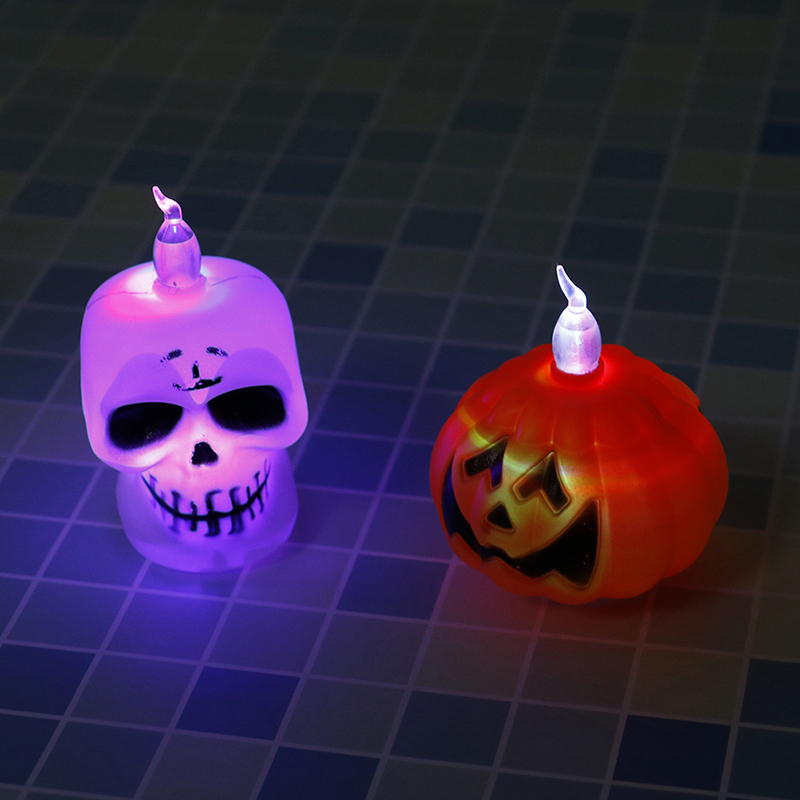 LED Mini Candle Light Skeleton Pumpkin Night Light Lamp Halloween Party Supplies Props Halloween Festival Candles Home Decor