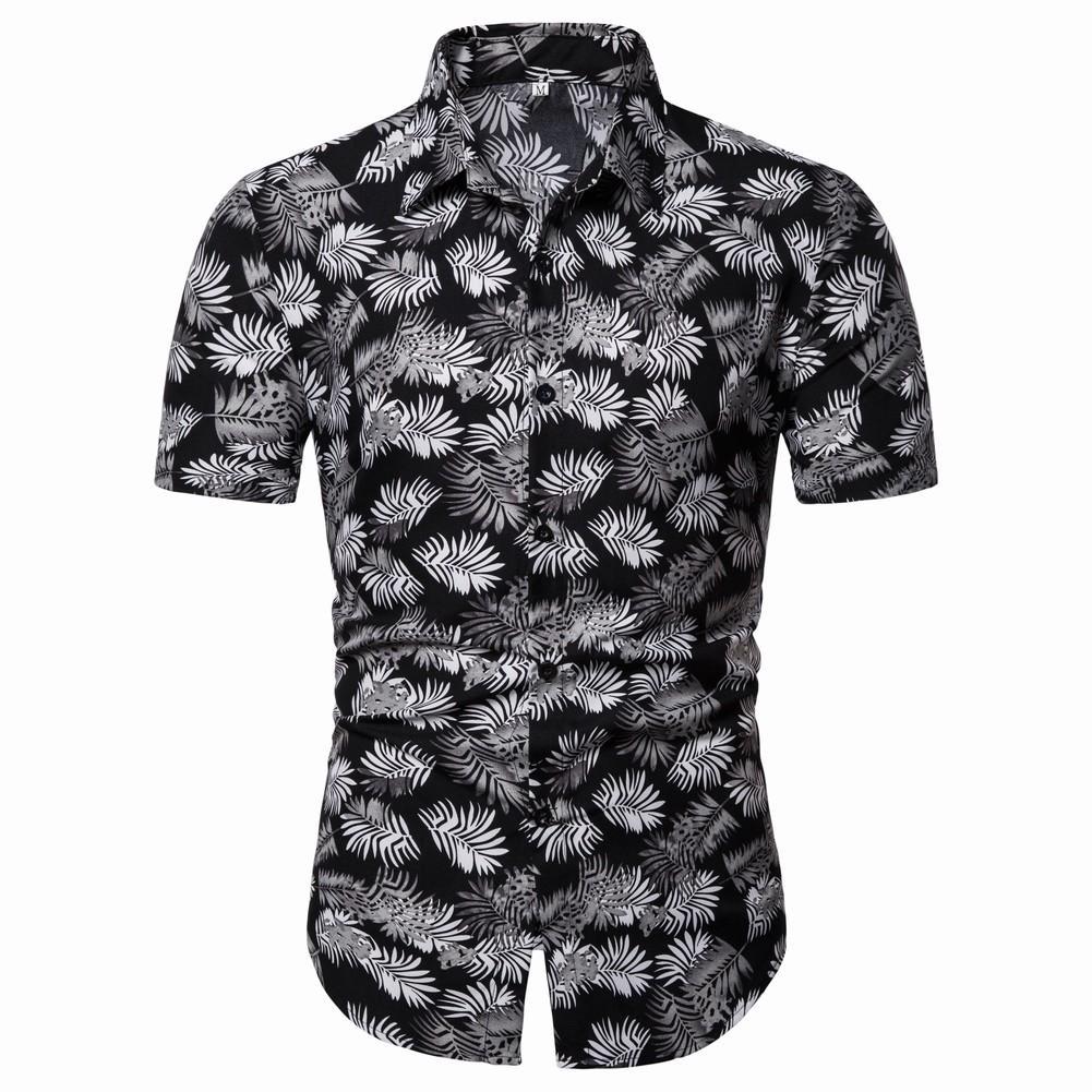 Flower Mens Shirt Casual Blouse Men Dress Floral Hawaiian Beach leisure Style Summer