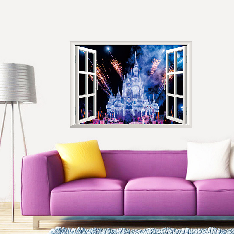 3D Wall Murals Wallpaper Dream Castle Fake Window View Wall Sticker