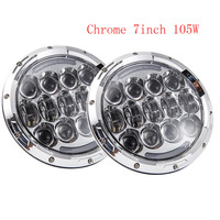 2PCS 7 INCH LED Headlight H4 To H13 Plugs High Low Beam LED Chip For Jeep