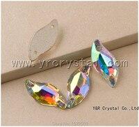 최고 3254 다이아몬드 잎 크리스탈 AB 바느질 크리스탈 9x20 미리메터 14x30 미리메터 비즈 바느질 돌 평면 다시 Rhonestones 의류
