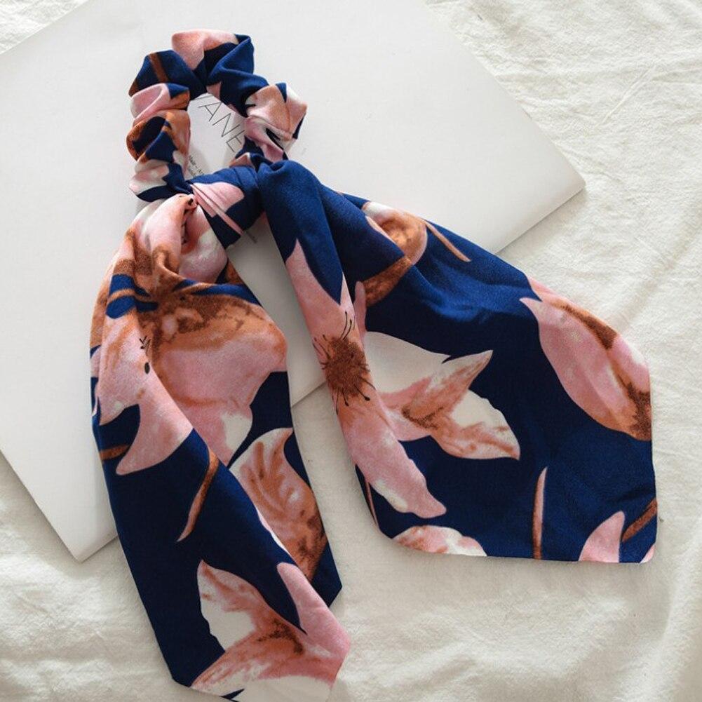 Элегантные резинки для волос с большим цветком и леопардовым принтом; эластичные резинки для волос для женщин и девочек; завязанные длинные резинки; шарф; аксессуары для волос - Цвет: 16