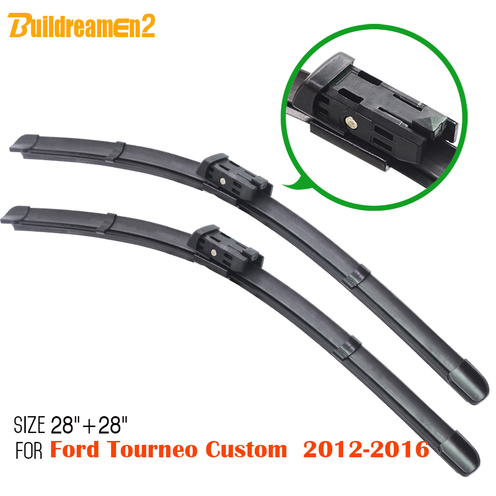 Buildreamen2 1pair vehicle soft rubber windscreen wiper blades windshield bracketless for 2012 2016 ford tourneo