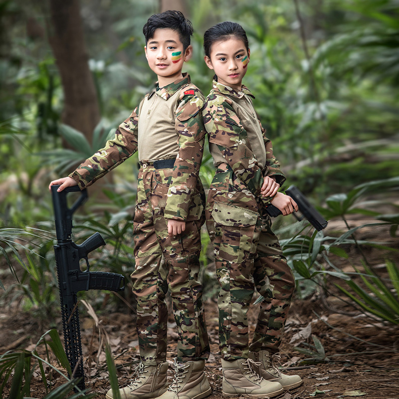 Mege Children Military Uniform Multicam Special Forces Army Costume Multicam Airsoft Game Combat Uniform CS Paintball Equipment