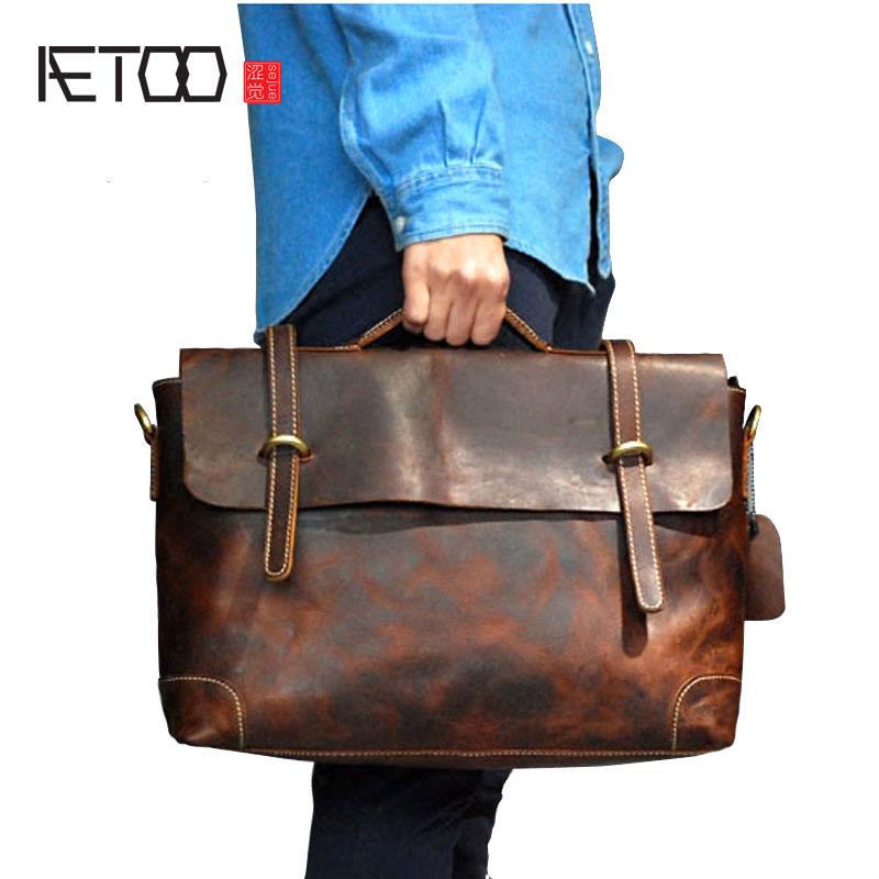 AETOO First layer leather leather retro handbag leather mad horse skin men bag briefcase