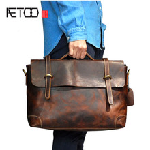 AETOO  First layer leather leather retro handbag leather mad horse skin men bag briefcase europe and the united states retro crazy horse leather travel bag high quality men s leather handbag first layer of leather shou