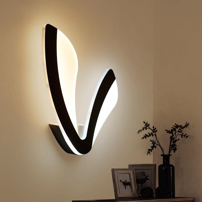 Abajur New Quadri Moderni V Word Ledfor Wall Lamp Bedroom 12w Sconce White black Lampshade Indoor