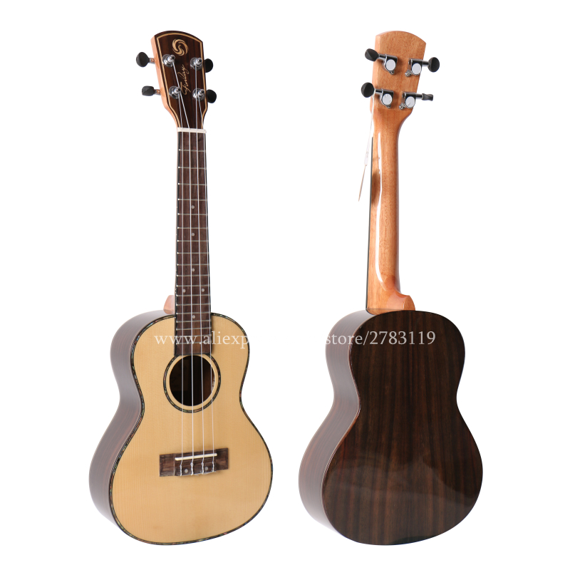 27 inch Tenor Electric ukulele With Solid Spruce Top/Rosewood Body,ukelele guitars,mini 4 strings guitar,with pickup,With Video hlby good deal 17 mini ukelele ukulele spruce sapele top rosewood fretboard stringed instrument 4 strings with gig bag 2