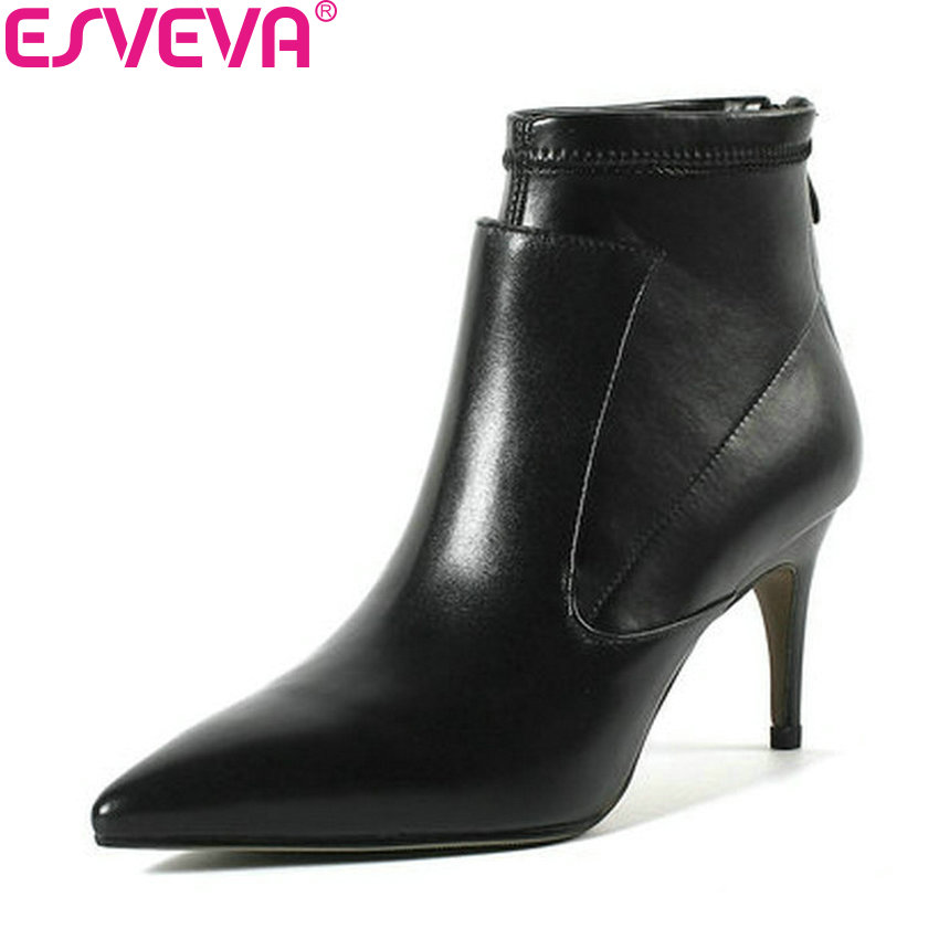 ESVEVA 2019 Women Boots Shoes Sexy Thin High Heels Zipper Cow Leather PU Ankle Boots Pointed Toe Autumn Shoes Boots Size 34-43 size 34 43 2016 fashion women s ankle boots black motorcycle pu leather boots solid pointed toe martin boots autumn shoes