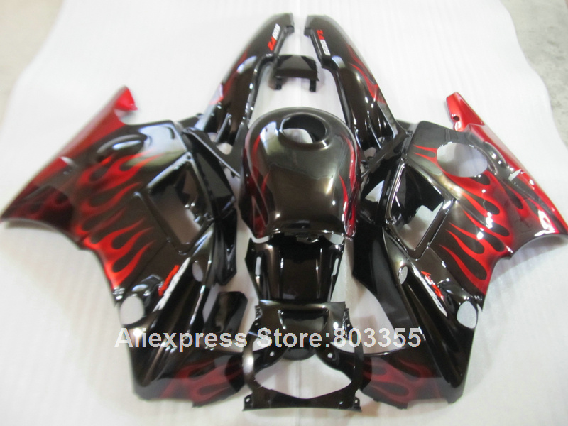 Apto para HONDA CBR600 F2 1994 1993 1992 1991 Top-selling Carenagens cbr 600 (chamas vermelhas) kit carenagem 91 92 93 94 anos xl90