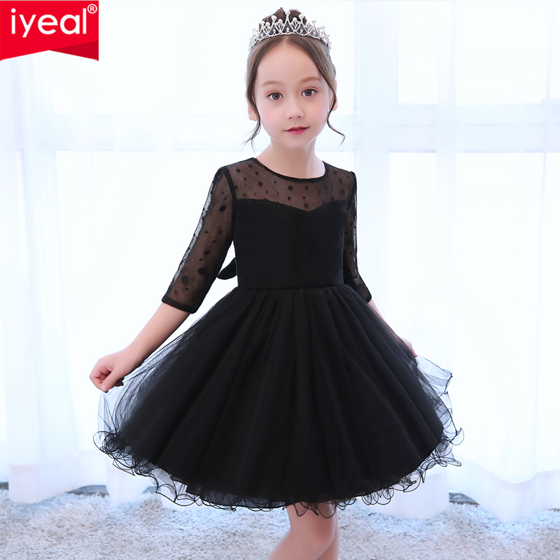 IYEAL New Kids Girls Flower Dress Baby Girl Birthday Party Dresses Children Princess Black Lace Ball Gown Wedding Clothes new girls dress baby girl birthday party dresses children fancy princess ball gown flower girl dress kids clothes