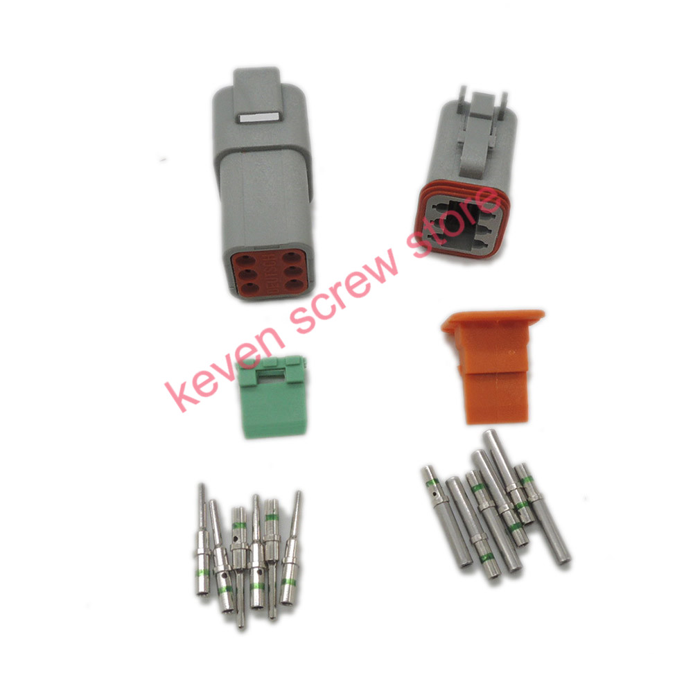 все цены на 1 sets Kit Deutsch DT 6 Pin Waterproof Electrical Wire Connector plug Kit DT06-6S DT04-6P,14 GA