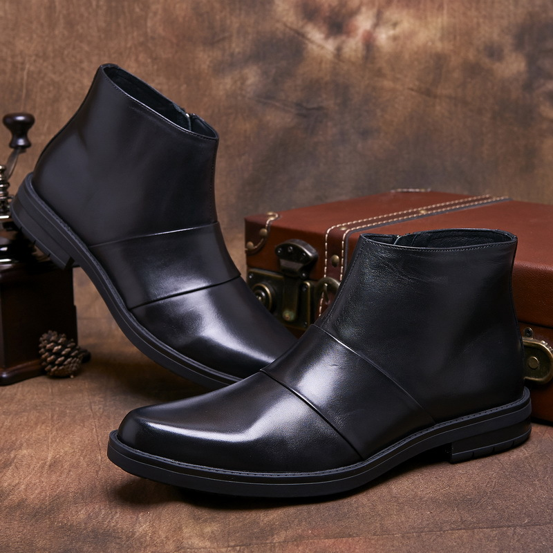 Online Shop Mens dress boots brown tan / black genuine leather ...