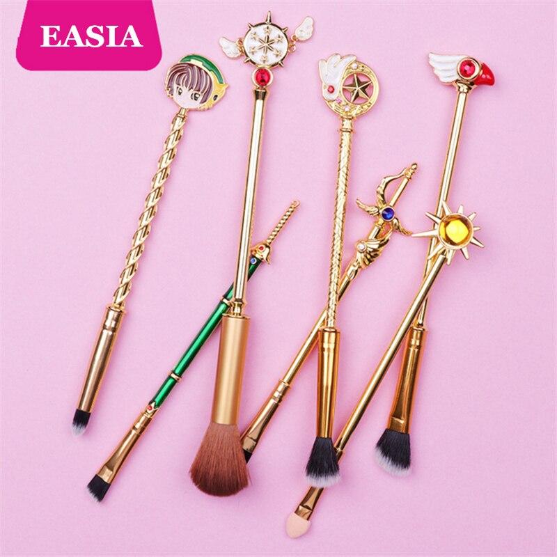 Beauty & Health Makeup New Cardcaptor Sakura 7pcs Makeup Brush Set Solid Metal Magic Wand Sailor Moon Blending Eyeshadow Teen Girl Gift Brush Kit