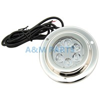 6 2W DC LED Boat Marine Underwater Light Blue Surface Mount Stainless IP68
