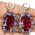 Big Gemstone 30x20mm Pink Tourmaline, Emerald, Blue Topaz SheCrown Woman's Wedding Created  Silver Earrings 60x30mm