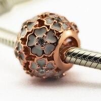 Fit pandora vòng tay hoa beads với rose gold plated 925 sterling silver bạc trang sức quyến rũ miễn phí vận chuyển