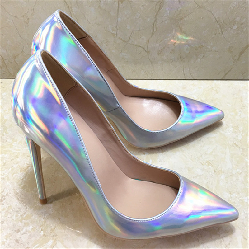 afa963d45ee5 Single Ladies Shoes Mirror Patent Leather Women Pumps Sexy Pointy Sapato  Feminino Thin High Heels Silver Party Wedding Shoes